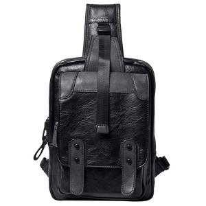 Leisure Metal and Black Color Design Messenger Bag For Men - Black