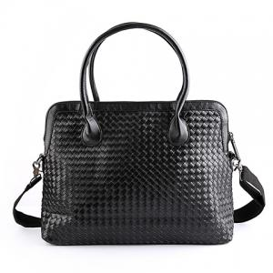 Trendy Black Color and Weaving Design Briefcase For Men - Black
