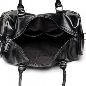 Concise Metallic and Black Color Design Messenger Bag For Men -