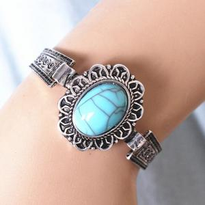 Ethnic Style Alloy Faux Turquoise Cuff Bracelet - SILVER