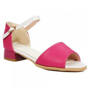 Ladylike Colour Block and Peep Toe Design Sandals For Women - Rose - 39