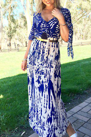 Trendy Stylish Plunging Neck Printed Split Sleeve Maxi Dress For Women