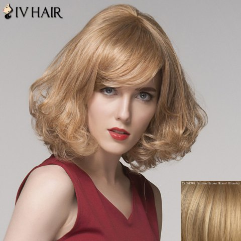 Discount Charming Side Bang Medium Siv Hair Fluffy Curly Capless Human Hair Wig For Women - GOLDEN BROWN WITH BLONDE  Mobile