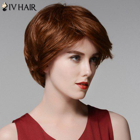 Best Siv Hair Elegant Short Capless Shaggy Wavy Side Bang  Human Hair Wig - AUBURN BROWN #30  Mobile