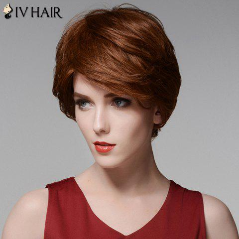 Hot Siv Hair Elegant Short Capless Shaggy Wavy Side Bang  Human Hair Wig - AUBURN BROWN #30  Mobile