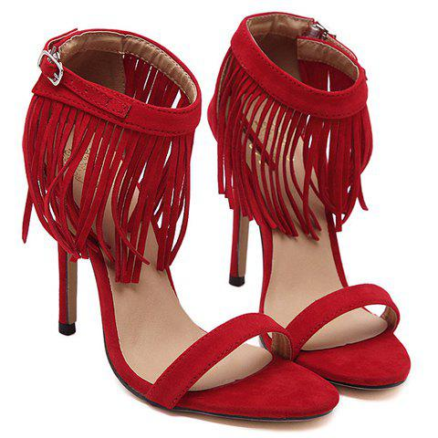 Cheap Stylish Suede and Fringe Design Sandals For Women