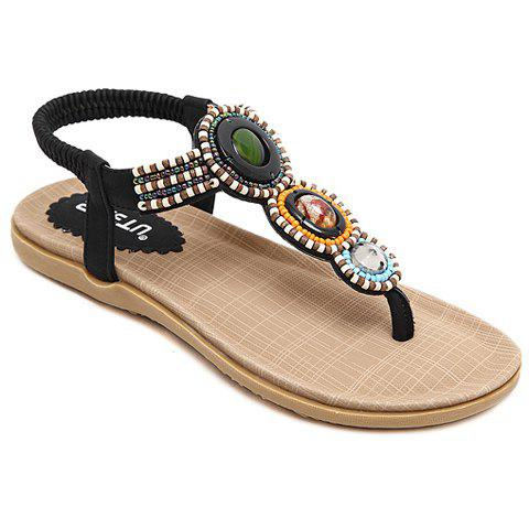 Sale Casual Elastic and Beading Design Sandals For Women BLACK 37