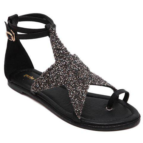 Trendy Stylish Sequined Cloth and Star Design Sandals For Women