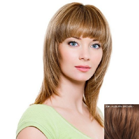 Affordable Women's Fluffy Human Hair Full Bang Layered Straight Long Wig - AUBURN BROWN #30  Mobile