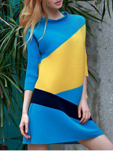 Stylish Color Block Stand Collar 3/4 Sleeve Dress For Women - LAKE BLUE ONE SIZE(FIT SIZE XS TO M)