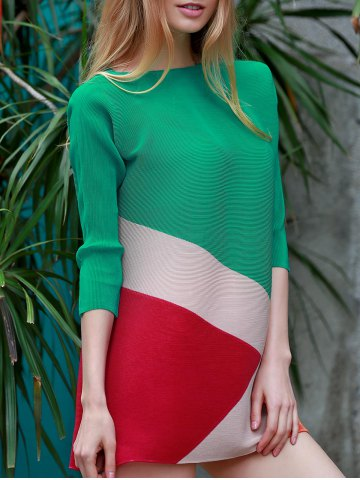 Chic Chic Boat Neck 3/4 Sleeve Color Block Dress For Women