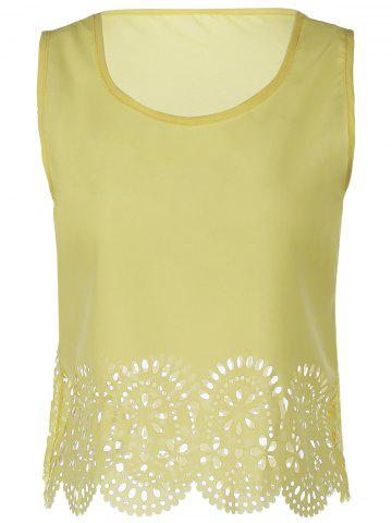 Trendy Chic Scoop Neck Sleeveless Hollow Out Solid Color Women's Tank Top