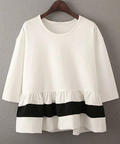 New Sweet 3/4 Sleeves Round Neck Ruffled Design Women's Blouse
