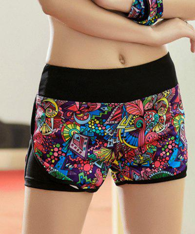 New Elastic Waist Colorful Print Yoga Running Shorts