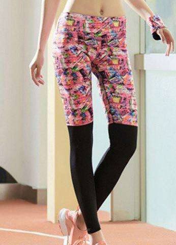 Best Active Style Elastic Waist Printed Skinny Spliced Yoga Pants For Women - L COLORMIX Mobile