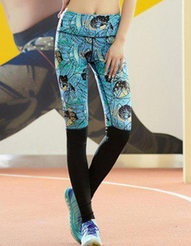 Trendy Active Style Elastic Waist Skinny Spliced Leaf Print Yoga Pants For Women