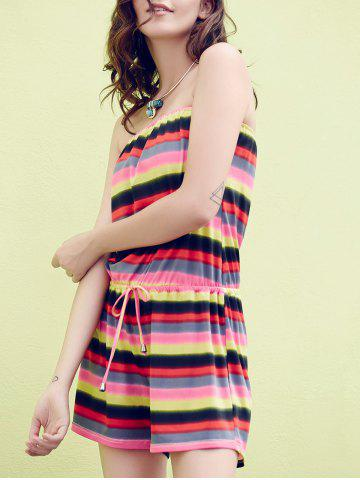 New Off The Shoulder Striped Rainbow Romper