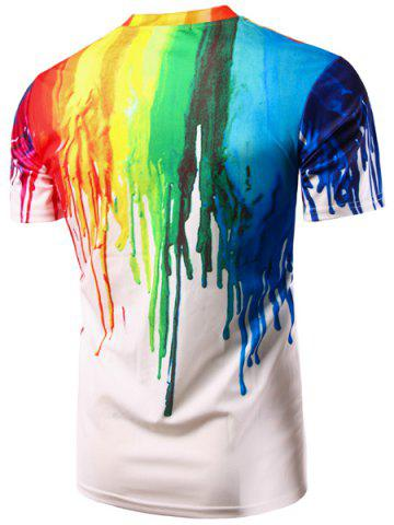 New Casual Colorful Painting Pullover T-Shirt For Men - 2XL COLORFUL Mobile
