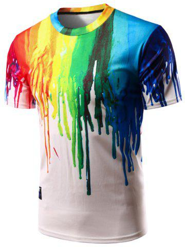 Best Casual Colorful Painting Pullover T-Shirt For Men COLORFUL M