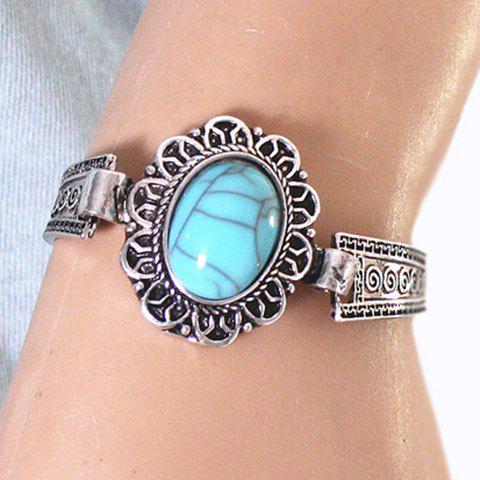 Trendy Ethnic Style Alloy Faux Turquoise Cuff Bracelet SILVER