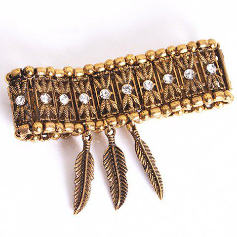 Outfits Ethnic Style Alloy Rhinestone Bead Leaf Pendant Bracelet - COFFEE  Mobile