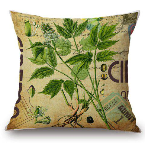 Fancy Fashionable Plants and Letter Pattern Square Shape Flax Pillowcase (Without Pillow Inner)