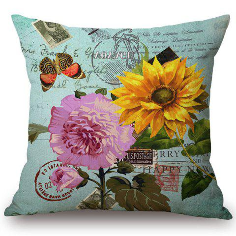 Shop Fashionable Sunflower and Butterflies Pattern Square Shape Flax Pillowcase (Without Pillow Inner)
