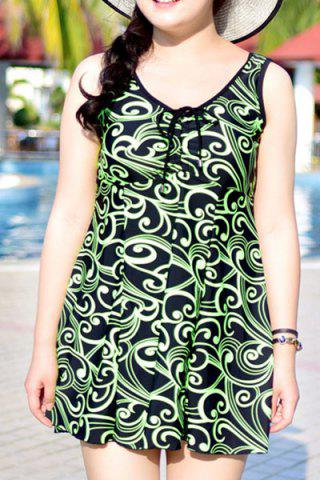 Fancy Chic Sleeveless Printed One-Piece Dress Swimwear For Women