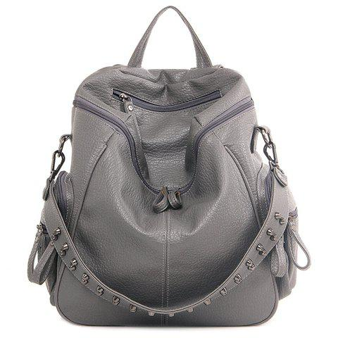 Cheap Fashion Rivets and Black Color Design Satchel For Women GRAY