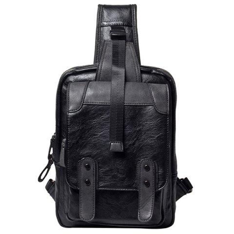 Shop Leisure Metal and Black Color Design Messenger Bag For Men - BLACK  Mobile