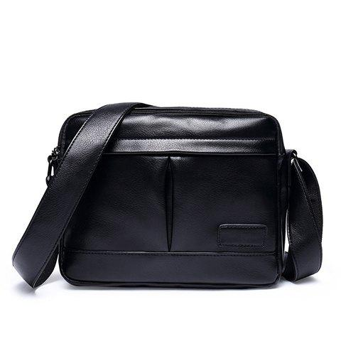 Unique Concise PU Leather and Black Color Design Messenger Bag For Men