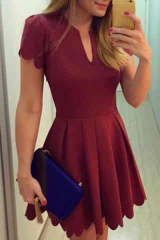 Shop Retro Style V Neck Short Sleeves Pleated Dress For Women WINE RED XL