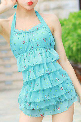 Trendy Sweet Style Halterneck Backless Floral Print Swimsuit For Women