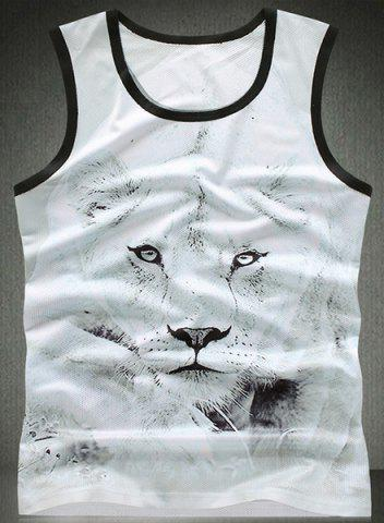 Latest Trendy Round Neck Lion Pattern Breathable Sleeveless Men's Tank Top