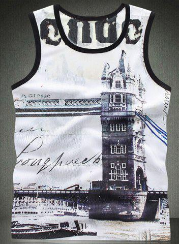 Store Trendy Round Neck 3D Building Pattern Breathable Sleeveless Men's Tank Top