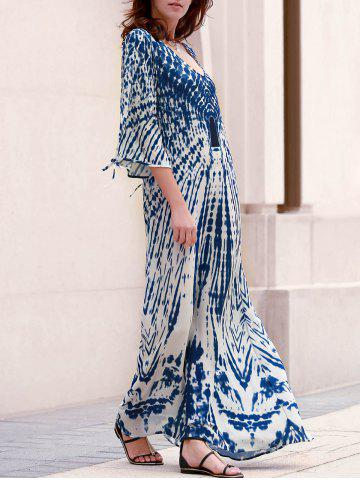 Chic Stylish Plunging Neck Split Sleeve Printed Maxi Dress For Women