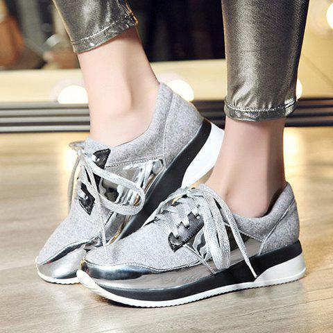 Unique Stylish Splicing and Suede Design Athletic Shoes For Women - 37 LIGHT GRAY Mobile