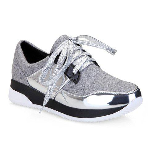Buy Stylish Splicing and Suede Design Athletic Shoes For Women - 37 LIGHT GRAY Mobile