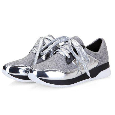 Best Stylish Splicing and Suede Design Athletic Shoes For Women - 37 LIGHT GRAY Mobile