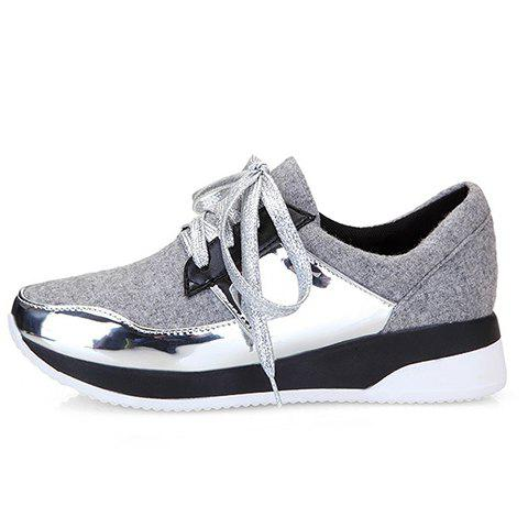 Shops Stylish Splicing and Suede Design Athletic Shoes For Women - 37 LIGHT GRAY Mobile