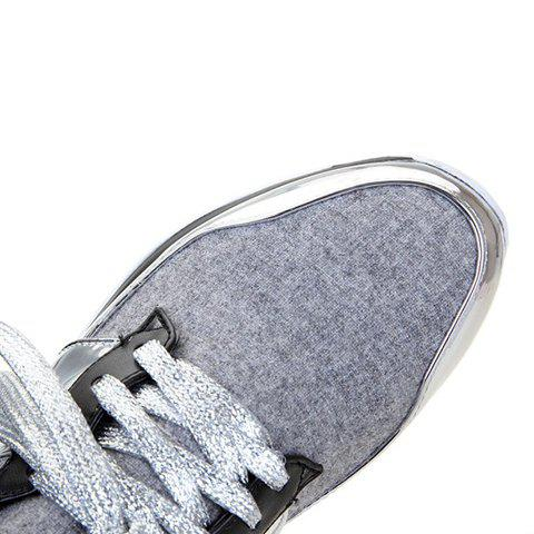 Sale Stylish Splicing and Suede Design Athletic Shoes For Women - 37 LIGHT GRAY Mobile