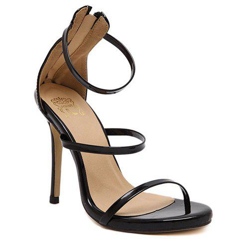 Shop Fashionable Strappy and Zipper Design Sandals For Women BLACK 38