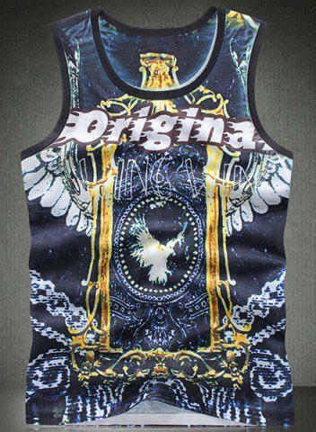 Hot Round Neck Letters Print Bird Pattern Breathable Sleeveless Men's Tank Top