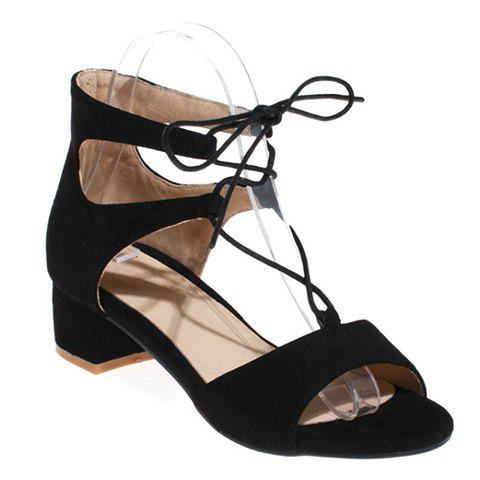 Discount Fashionable Chunky Heel and Lace-Up Design Sandals For Women