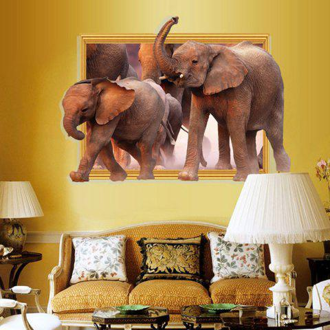 Trendy Waterproof Elephants Pattern 3D Removable Wall Stickers For Kid's Rooms BROWN