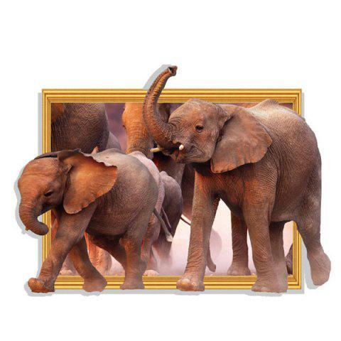 Shops Waterproof Elephants Pattern 3D Removable Wall Stickers For Kid's Rooms - BROWN  Mobile
