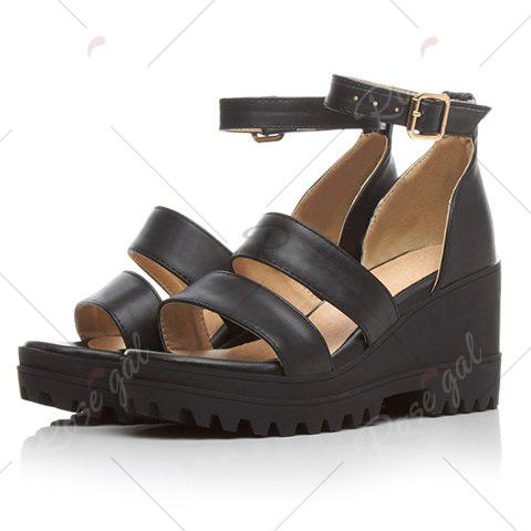 Hot Fashionable Platform and Ankle Strap Design Sandals For Women - 37 BLACK Mobile