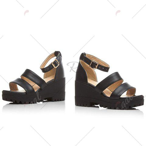 Online Fashionable Platform and Ankle Strap Design Sandals For Women - 37 BLACK Mobile