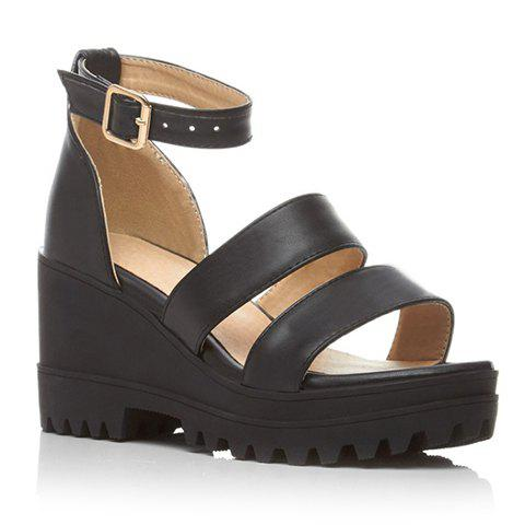 Fashionable Platform and Ankle Strap Design Sandals For Women - Black - 36