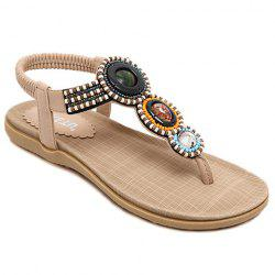 Casual Elastic and Beading Design Sandals For Women - APRICOT